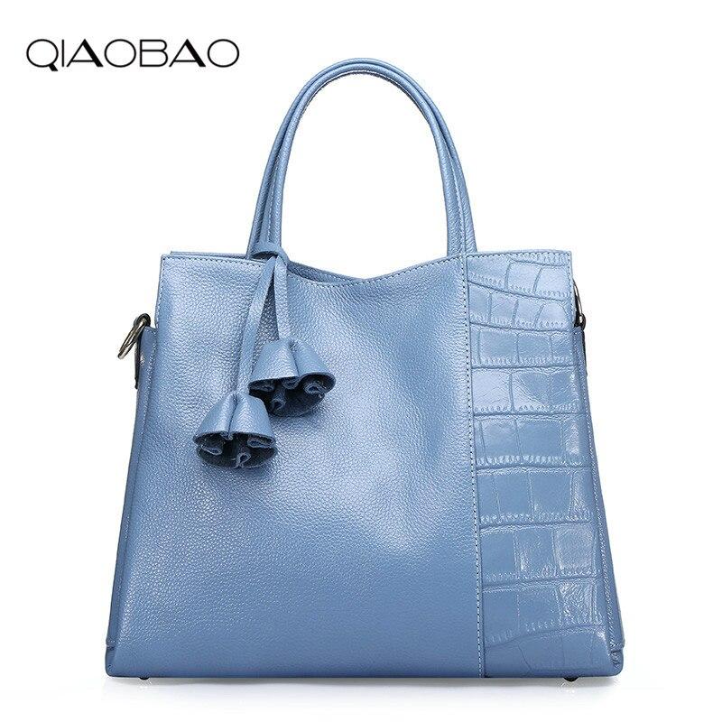 QIAOBAO Fashion Designer Brand Women 100% Real Leather Handbags ladies Shoulder bags tote Bag female Vintage Messenger Bag цена