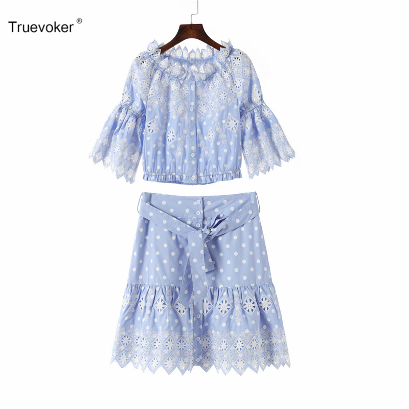 Truevoker Summer Designer Set Womens Noble Blue Embroidery Hollow Out Top + high Waist Mini Skirt Cute Suit
