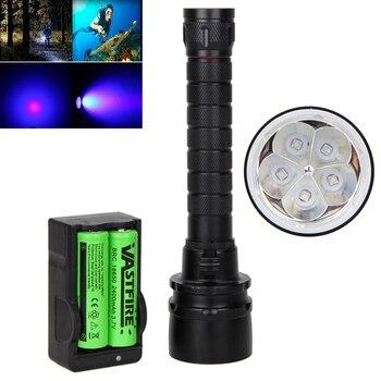 צלילה מתחת למים 100 m 30 W 5 x UV 390nm לצלול פנס LED 2x18650 לפיד