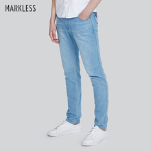 Markless Men's 100% Pure Cotton Jeans Stright Slim Fit Jeans Mid Waist Light Blue Skinny Male Jeans NZA7022M