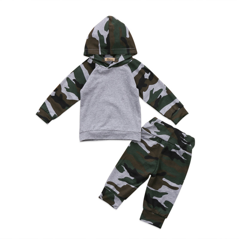 2Pcs Cool Newborn Toddler Baby Boys Hooded Camouflage Clothes Kids Cotton Hoodies Sweatshirts Top Long Pants Leggings Outfit Set