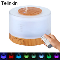 500ml Aroma Diffuser Wood Grain Air Electric Humidifier For Home With 7Color Lights Remote Control Ultrasonic