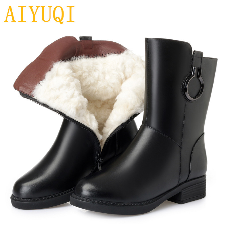 AIYUQI Womens luxury genuine leather boots,big size 41 42 43 ladies winter boots,warm wool female snow boots,women shoes boots aiyuqi 2018 new 100% genuine leather women shoes big size 41 42 43 low heel pumps trend ladies shoes women dress shoes