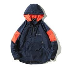 New 2019 Autumn Hip Hop Hooded Jacket Half Zipper Pullover Men Front Pocket Casual Windbreaker Hoodie Streetwear Harajuku