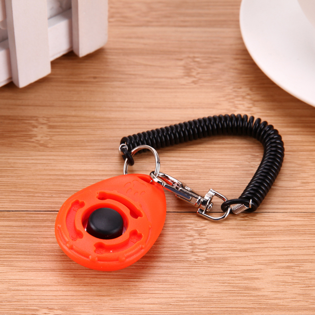 1pc Pet Trainer Pet Dog Training Dog Clicker Adjustable Sound Key Chain And Wrist Strap Doggy Train Click  5