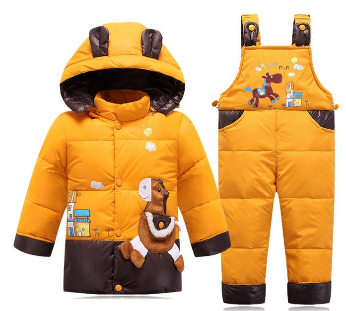 ФОТО Autumn and winter kids jacket, boys and girls of children infant kid Baby snow Suit thick Genuine