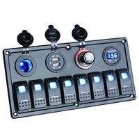 8 Gang LED Car Boat Rocker Switch Panel Dual USB Cigarette Lighter Socket Voltmeter Auto Car
