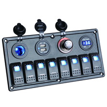 8 Gang LED Auto Boat Wippschalter Panel Dual USB Zigarette Zigarettenanzünder Voltmeter Auto Auto Switche Panel LED Boot Schalter Panel