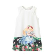Детские платья для девочек, новинка года, весенне-летнее платье с рисунком для маленьких девочек одежда без рукавов с рисунком Белоснежки для девочек возрастом от 2 до 8 лет