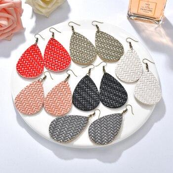 2019 PU Leather Water Drop kolczyki dla kobiet dynda oświadczenie kolczyki w kształcie łezki biżuteria Ear Drop Christmas Gift Winter