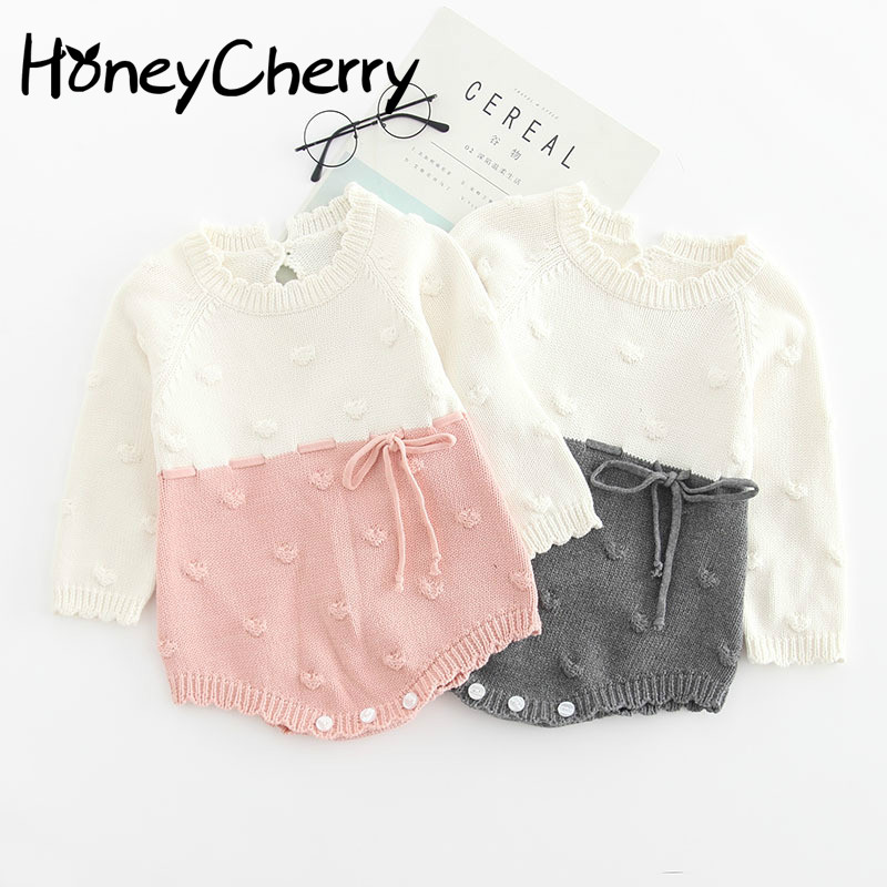 Baby Knitted Conjoined Clothes Autumn Kazakhstan 0 1 2 Years Old Childrens Sweaters  Farts And Climbing Baby BodysuitsBodysuits   -