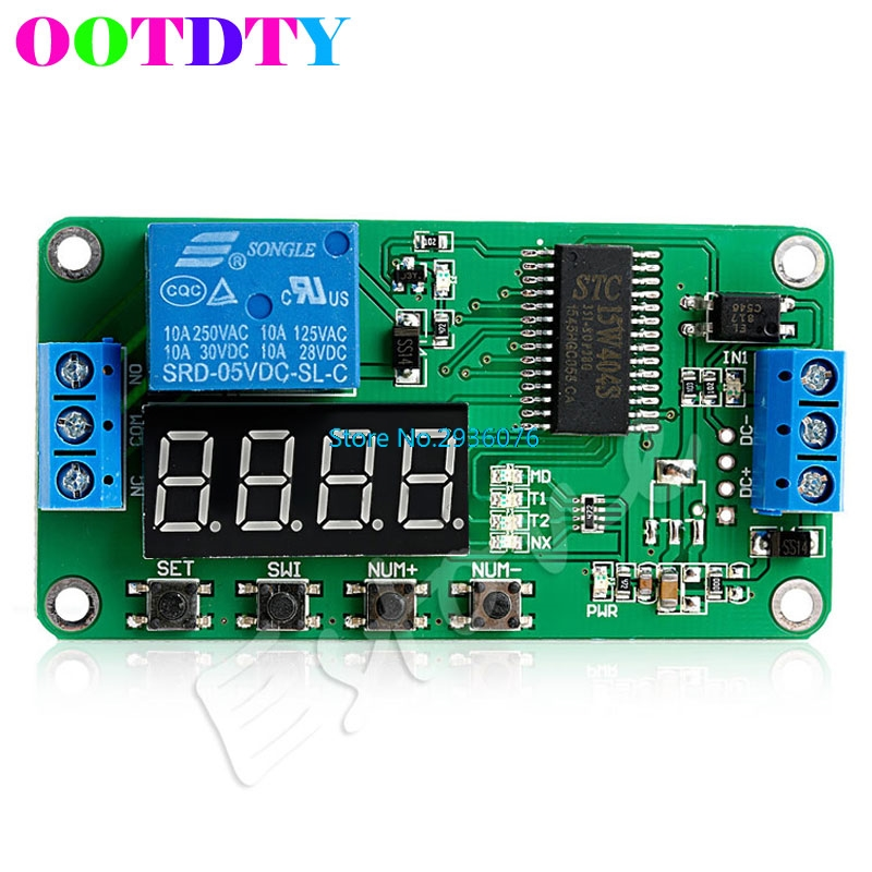 Multifunction Self-lock Relay PLC Cycle Timer Module DC 5V Delay Time Switch APR12 12v timing delay relay module cycle timer digital led dual display 0 999 hours