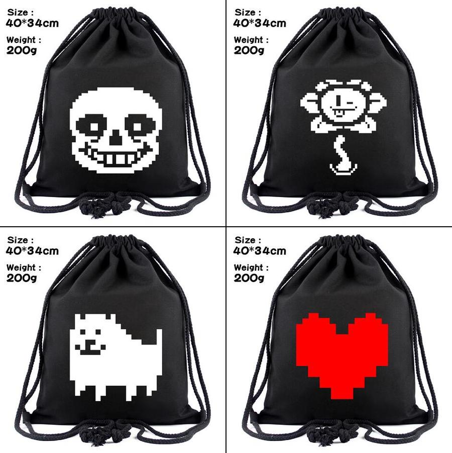 Game Undertale Sans Canvas Drawstring Bags Toriel Backpack Women Fashion Cosmetic Container Casual Beach Bag Shoes Pouch