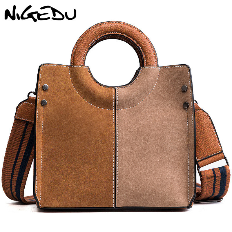 4c217ef399545 Vintage Patchwork Women Handbags Small Matte PU leather lady Crossbody Bags  Wide strap female Shoulder bag Woman Totes bolsas