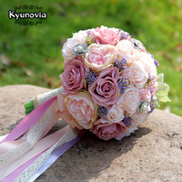 Kyunovia Set Wedding Bouquet Boutonniere and Wrist Flower Corsage Brooch bouquet Bridesmaid Bridal Bouquet Wedding Deco D81