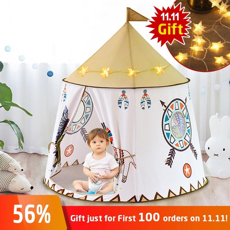 YARD Kid Tent House Portable Princess Castle 123*116cm Present Hang Flag Children Teepee Tent Play Tent Birthday Christmas Gift