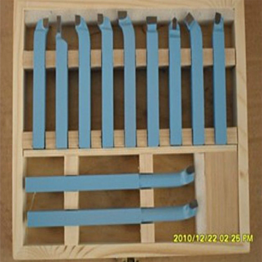 цена на 10*10mm 11pieces Precision hard alloy Turning Tool, lathe tool Kits cutter, cutting tools with wooden case