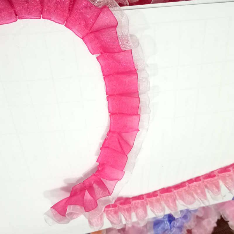 1M pileli dantel Trim malzeme tül dantel kumaşlar 2.5cm gipür dantel kumaş dikiş aksesuarları bebek için elbise dekorasyon RT13