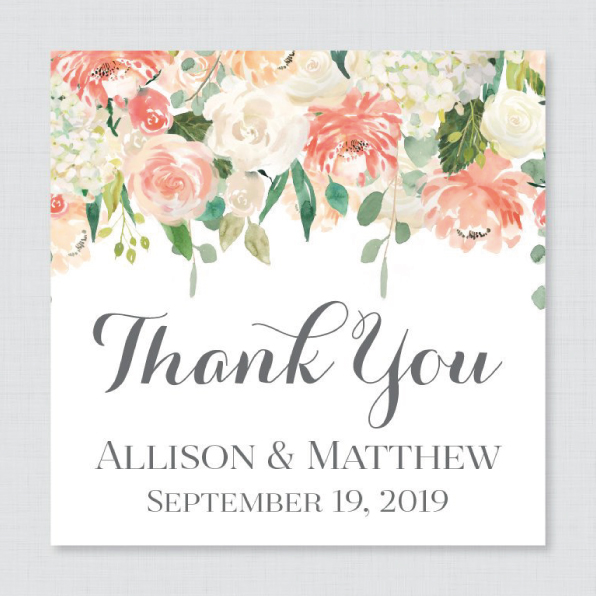 Custom Square Wedding Thank You Labels