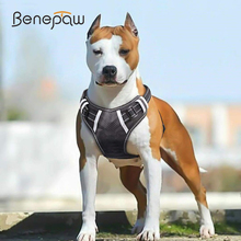 Benepaw respirável nenhuma tração grande cão arnês colete macio ajustável reflexivo durável pet arnês médio grande cão fácil controle