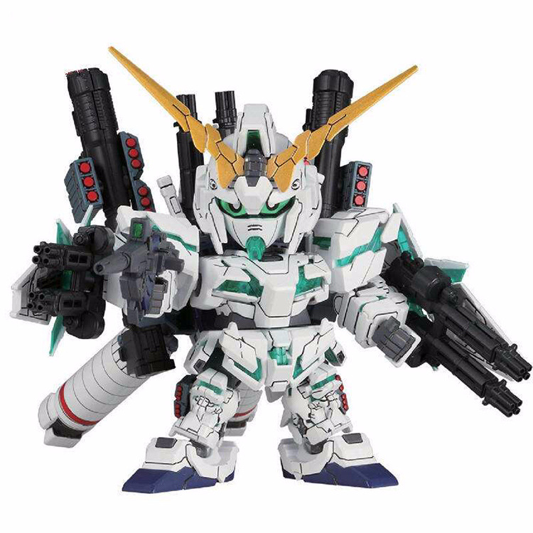 DIY Assemble Q Version Gundam SD BB Full Armor Unicorn RX-0 Model Childhood Toy Educational Assembling Building Puzzle Toys bandai bandai gundam model sd q version bb 309 sangokuden wu yong bian xiahou yuan battle