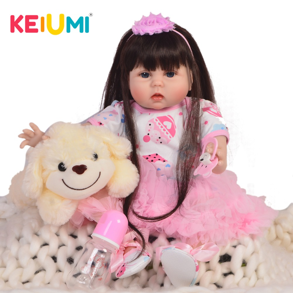 22 Inch Lifelike Princess Girl Doll Reborn Silicone Soft Cotton Body Preemie Baby Doll Toy For Kid Xmas Gift Menina Brinquedos