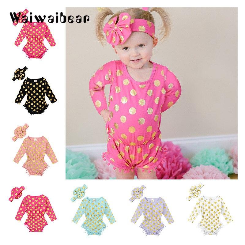 Bebê recém-nascido de manga comprida macacão bebê polka dot macacão + bandana 2 pçs conjunto de roupas infantis para meninas