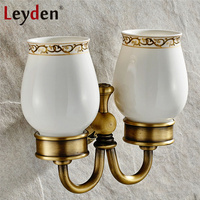 Leyden Antique Brass/ ORB Double Cup Tumbler Holder Vintage Wall Mount Brass Toothbrush Holder Ceramics Cup Bathroom Accessories