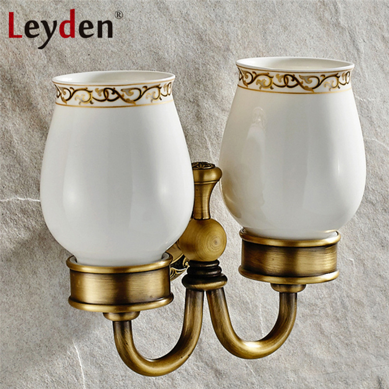 Leyden Antique Brass/ ORB Double Cup Tumbler Holder Vintage Wall Mount Brass Toothbrush Holder Ceramics Cup Bathroom Accessories image