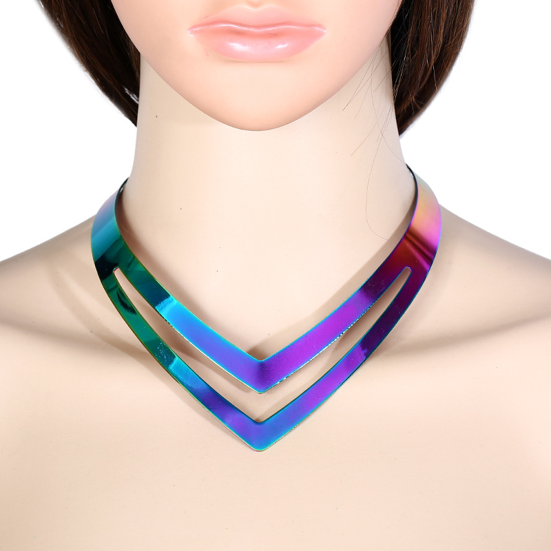 Missxiang 2018 New special explosion models metal Collar Necklace exaggerated false collar collar colorful personality smooth