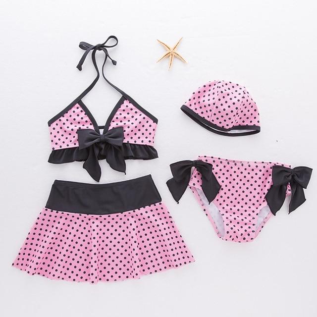 104cad86c5de Bebê Swimwear infantil 4 pcs Meninas Polka Dot Maiôs Bikini Set + vestido +  chapéu Milagrosa