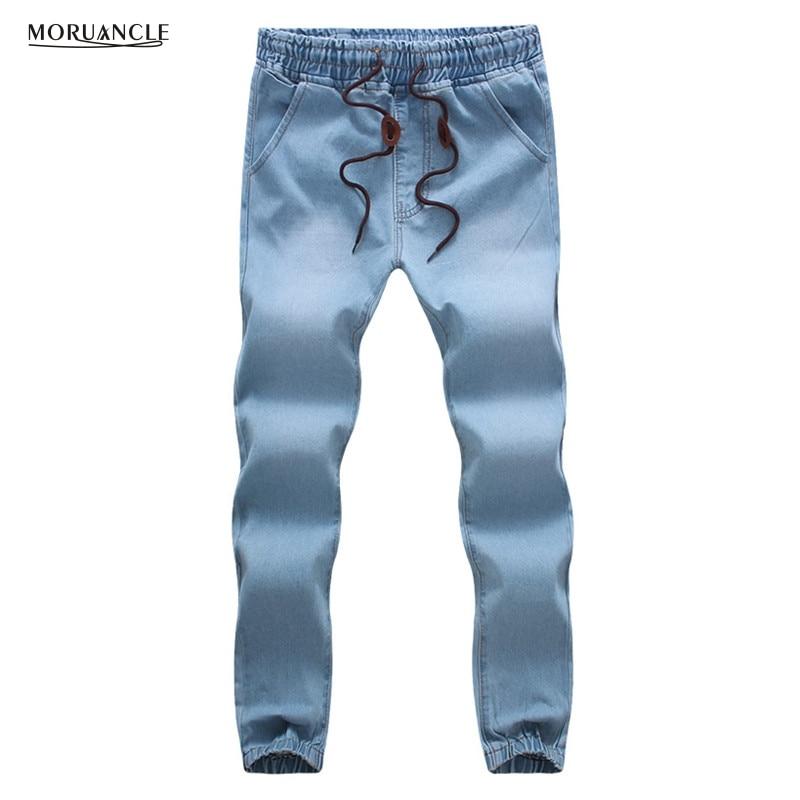 MORUANCLE Fashion Men s Jeans Pants Drawstring Denim Joggers For Male Elastic Waist Cuff Plus Size