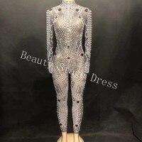 Роскошный жемчуг кристаллы сетка комбинезон Для женщин сценического танца черный перспектива боди вечерние певица костюм праздновать нар