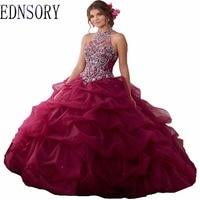 Long Ball Gown Wedding Dress 2017 Burgundy Organza Vestido De Noiva Floor Lace Up Adults Quincea