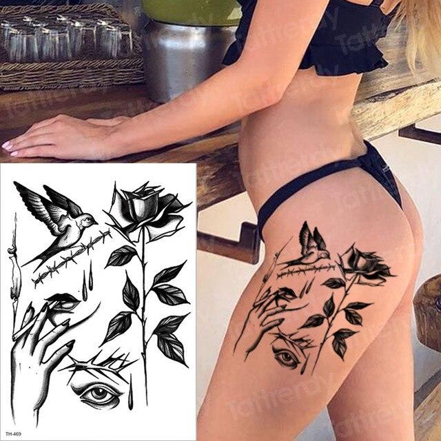 Us 1 06 30 Off Temporary Tattoo Black Birds Rose Tattoos Eye Tattoo Removable Waterproof Minimalist Tattoo Sticker Neck Ankle Tatoo Women Girls In
