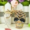 La Cabeza del cráneo Esqueleto Anillos de Joyería de Moda Las Mujeres Bolsa de diamantes de Imitación de Cristal Colgante Del Encanto Llavero Llavero Regalo de Moda 2015