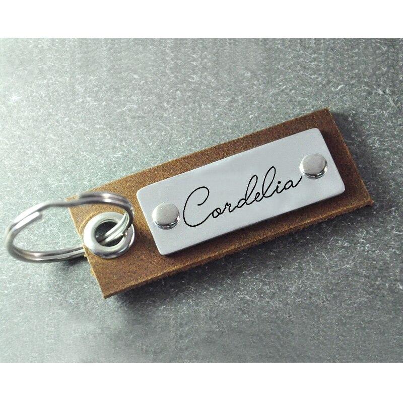 Us 499 Leder Schlüsselbund Legierung Bar Personalisierte Geschenk Für Vatertag Unterschrift Keychain Unterschrift Schlüsselring Leder