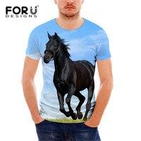 FORUDESIGNS Cool Crazy 3D Horse Pattern Men T Shirt Comfort Breath Short Sleeve T Shirt For