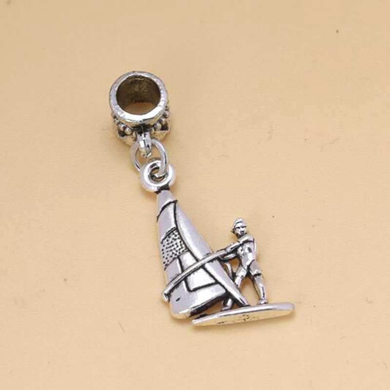Venta al por mayor de dijes colgantes de adorno con cuentas de plata antigua 5 uds para pulsera DIY colgante de vela y Windsurfing S6438