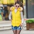 Женская мода Тонкий Вниз Хлопка С Капюшоном Жилет Зима Теплая Жилет Куртка Пальто Топы