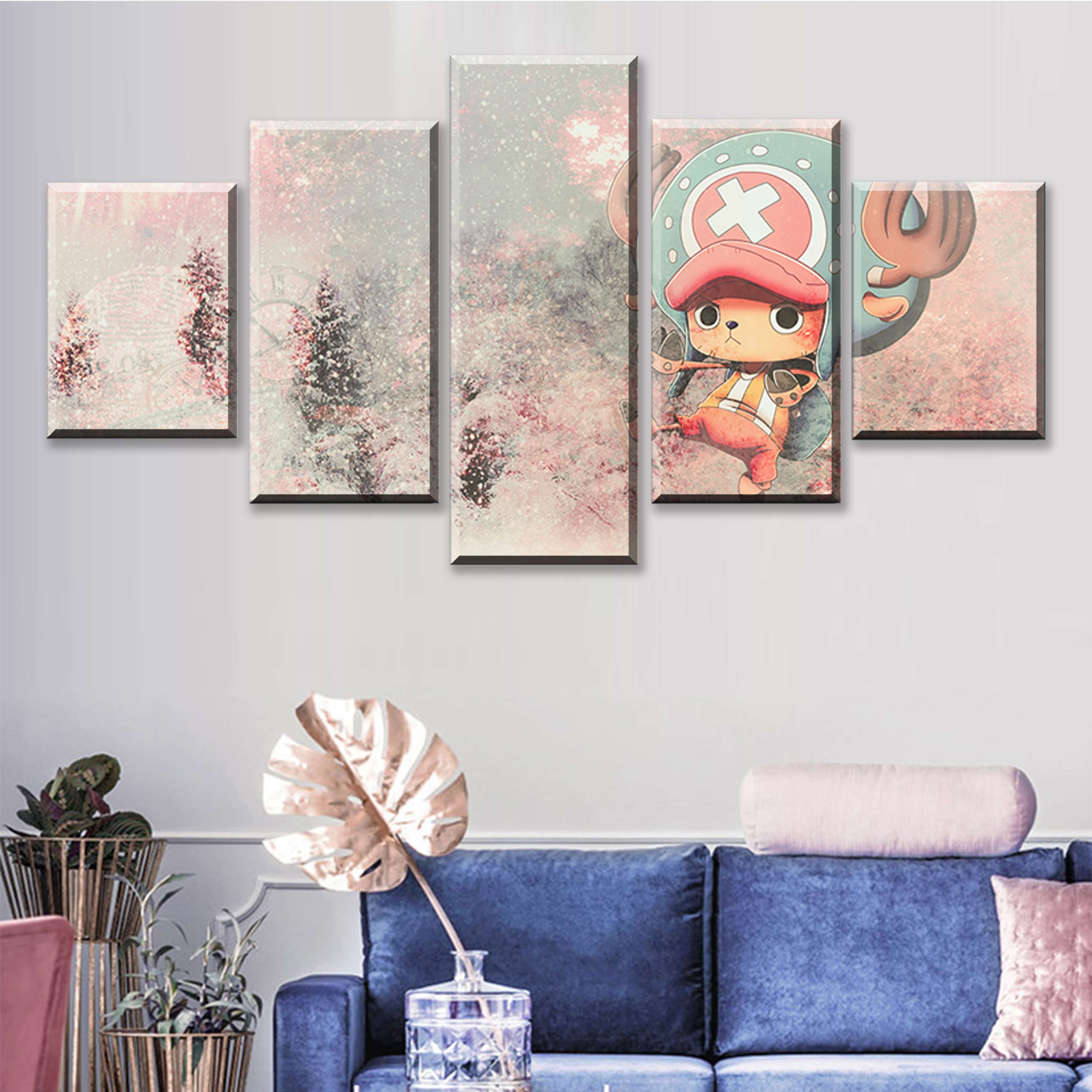 5 Piece Abstract Art Cartoon Pictures Tony Tony Chopper Straw Hat Pirate ONE PIECE Anime Poster Canvas Paintings for Wall Decor in Painting Calligraphy from Home Garden