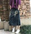 Remiendo de las mujeres de Cintura Elástica Denim Falda Linda de La Manera Appliques Bordado Impreso Faldas de Mezclilla para Mujer de Las Señoras