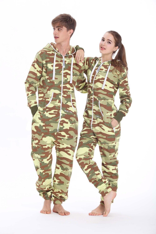 Nordic Way Camo Onesie All In One Hoody Fleece Romper Army Unisex   Jumpsuit
