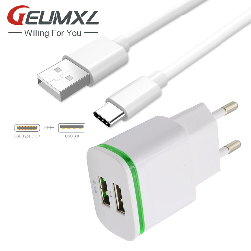 GEUMXL 2A EU Plug Type C USB Date Cable Phone Wall Charger Adapter For Samsung Galaxy A5 A3 A7 2017 Note 8 S8 Lg G6 G5 V20(China)