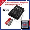2016 New Arrival Raspbian OS para Raspberry Pi 3 Modelo B pré-carregados em SanDisk 32 GB Classe 10 do Cartão SD