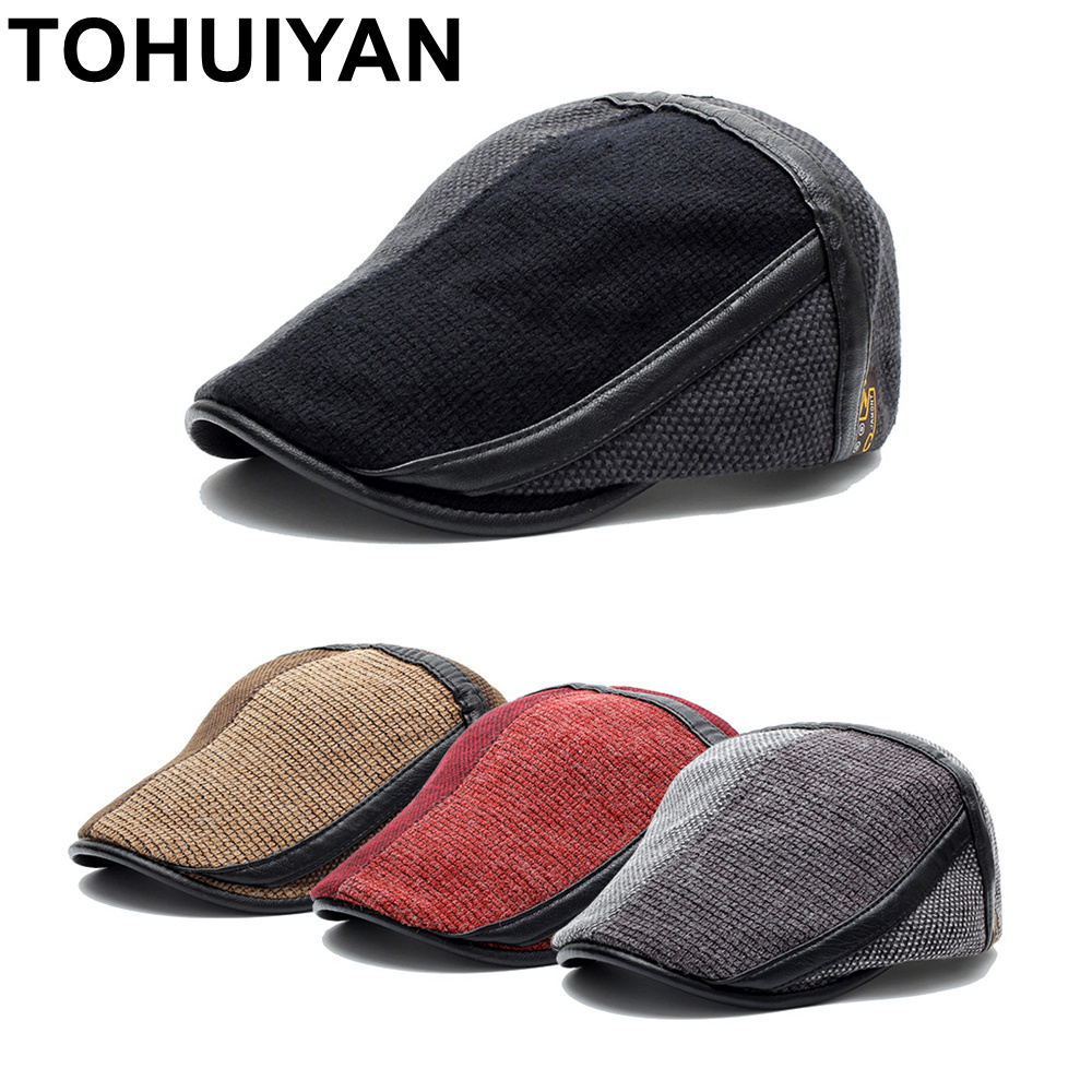 4be368c6afa TOHUIYAN Winter Elderly Men Hat Newsboy Cap Flat Beret Cap For Male Thick  Wool Beret Peaked Hats Boina Vintage Plaid Warm Bonnet