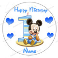 "Mickey Festa Wafer Paper for Cake Topper 1pcs 8"" 1st birthday Cake for Baby Boy Micky Mouse 1st Birthday Cake Decorating"