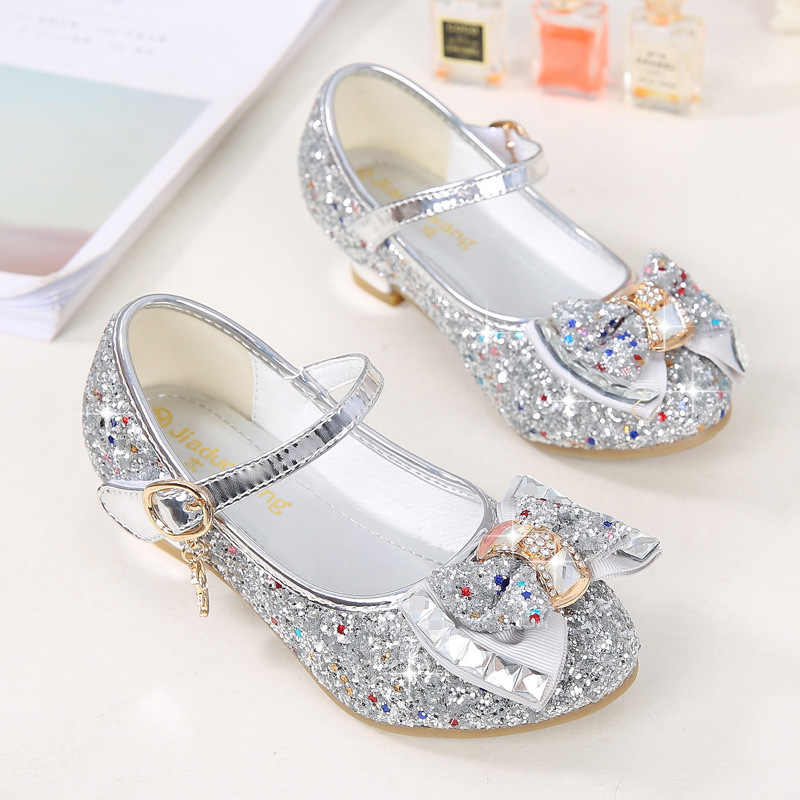 38e3087939 Girls shoes 2019 spring girls small high heels fashion sequin bow  children's dance shoes pink blue gold silver princess shoes