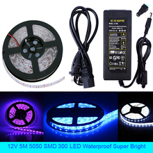 цена на LED Strip Light 5m 5050 SMD 300 LED Flexible Strip Light Waterproof Super Bright Decorative lamp strip + Power Supply Adapter