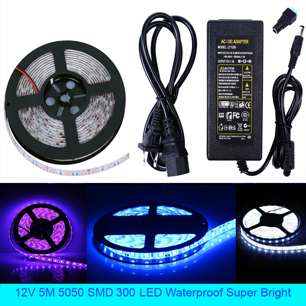 5050 SMD LED Flexible Light Strip 5m 300 LED Waterproof Super Bright Decorative lamp strip + Power Supply Adapter 110V to 12V 6A